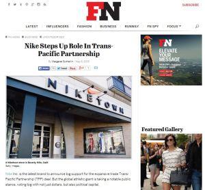 Nike Steps Up TPP Role